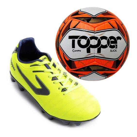 Chuteira Campo Topper Boleiro + Brinde Bola De Futebol