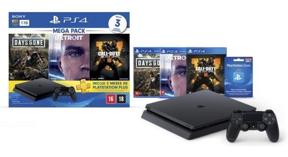 Playstation 4 Slim Sony 1tb Ps4 Bivolt 3 Jogos Inclusos Novo