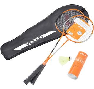 Kit Badminton 2 Raquetes + 3 Petecas De Nylon Vollo Vb002