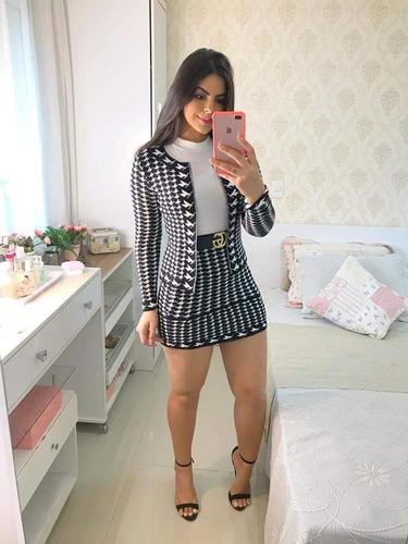 32ca16a9a7 Conjunto Saia Com Blusinha De Trico Roupa Feminina Festa - R$ 129,90 em  Mercado Livre