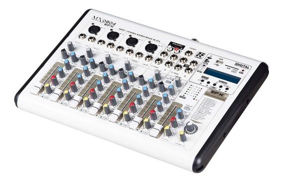 Mesa De Som 8 Ch Bluetooth Mp3 Usb Fm Slide 60mm Mx0804efx S