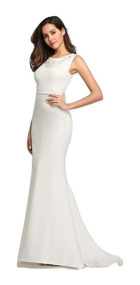 Vestido Novia Blanco Sirena Talla 6 Y 8 Bordado Np 05