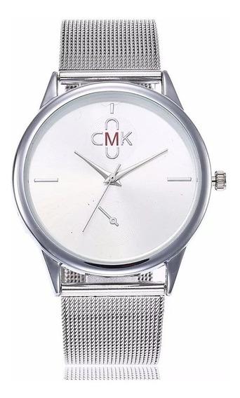 Relógio Feminino Aço Inox Casual Quartzo Prata