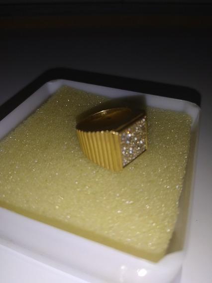 Anillo Hombre Oro 18k Con Diamantes Incrustados