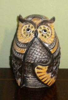 Figura Escultura Búho De Resina Imitando Piedra Tallada Mod2