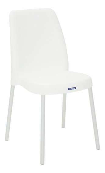 Cadeira Vanda Branca Com Pernas De Aluminio Anodizadas