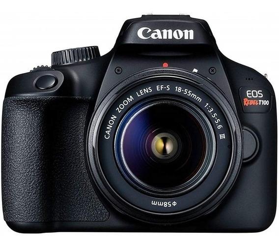 Câmera Digital Canon Eos Rebel T100 Lente Zoom Telefoto 75-3