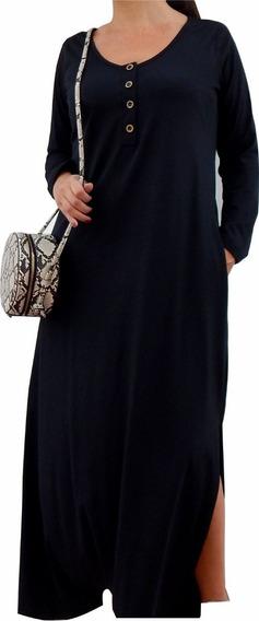 Talles Grandes- Maxi Vestido Con Botones- Bolsillos L Al 6xl