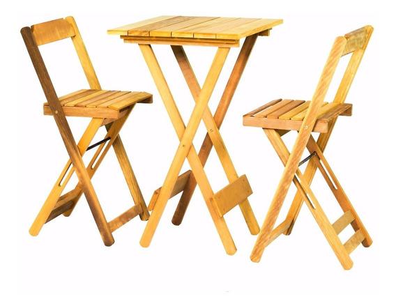 Jogo De Mesa Bar Bistrô Dobrável 2 Cadeiras Em Madeira