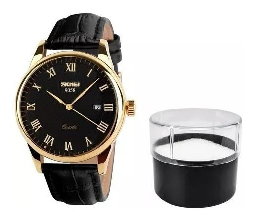Relógio Feminino Skmei De Luxo Pulseira De Couro Modelo 9058