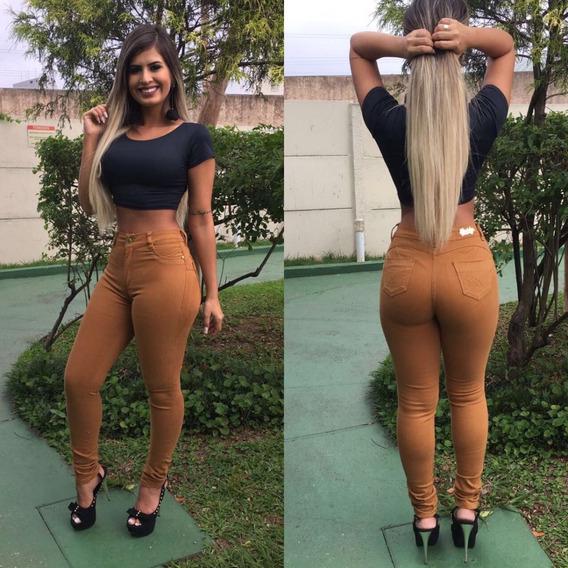 Calça Flare E Skinny Jeans Estilo Pit Bull Cós Alto C/ Lycra