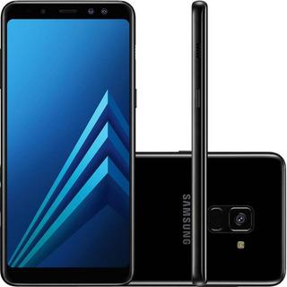 Smartphone Samsung A8+ Preto 64gb Câmeras 16mp+8mp Biometri