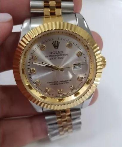 Relógio Unissex 40mm Com Pedras , Todo Em Aço