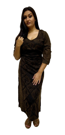 Vestido Longo Indiano Estonado Manga Longo Bordado Viscose