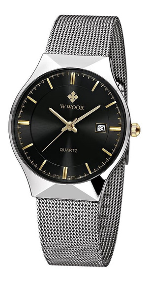 Relógio Masculino Redondo Em Inox Fundo Preto Importado
