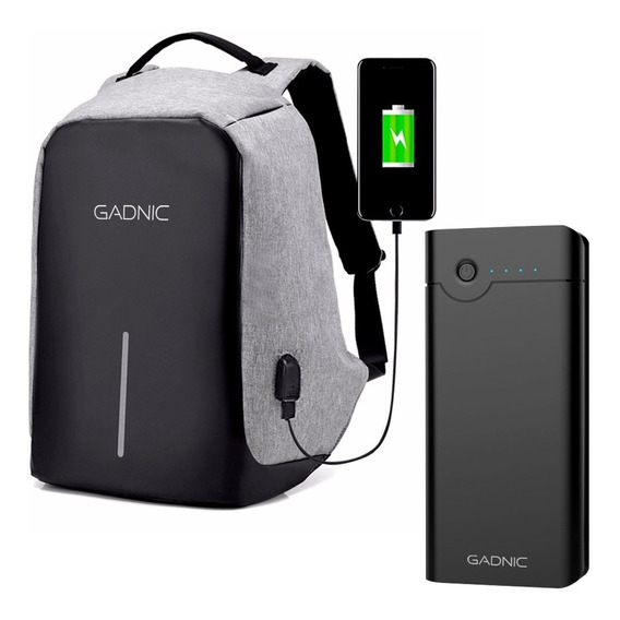Kit Mochila Antirrobo + Power Bank 26800 Mah Notebook Envio