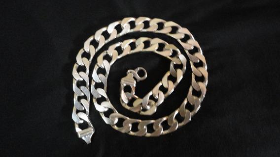 Cordão De Prata Maciça Grossa 925 Grumet 61cmx1,5cm