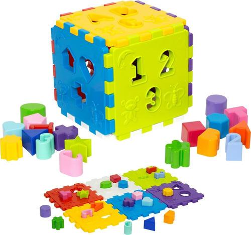 Imagem 1 de 3 de Cubo De 17cm Didático Pedagógico 18 Pçs Encaixe Mercotoys