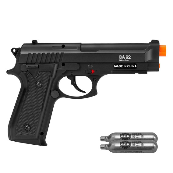 Pistola De Airgun À Gás Co2 Swiss Arms Pt92 Bax Nylon Fiber Gnb 4,5mm - Cybergun + Brinde U Unica Unica