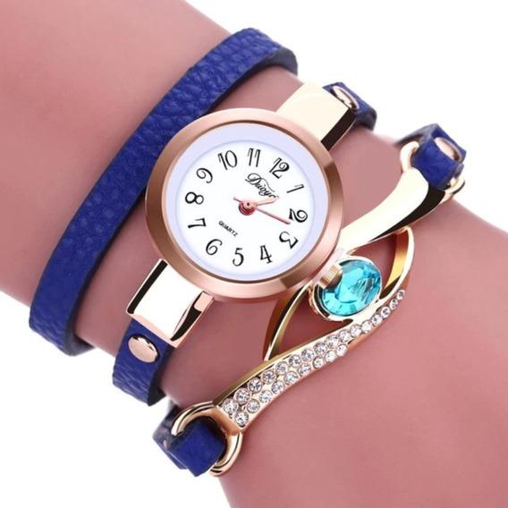 Relógio Feminino Quartzo Bracelete Pulseira De Couro Strass