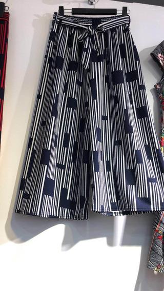 Calça Pantacourt Pantalona Listrada Moda Verão 2018