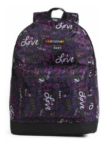 Mochila Escolar Feminina Grande Love Dark Purple Container