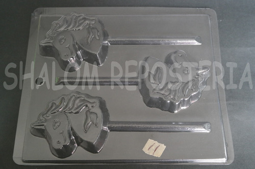 Imagen 1 de 4 de * Molde Paletas De Chocolate 3 Unicornio Cara Perfil Jabon