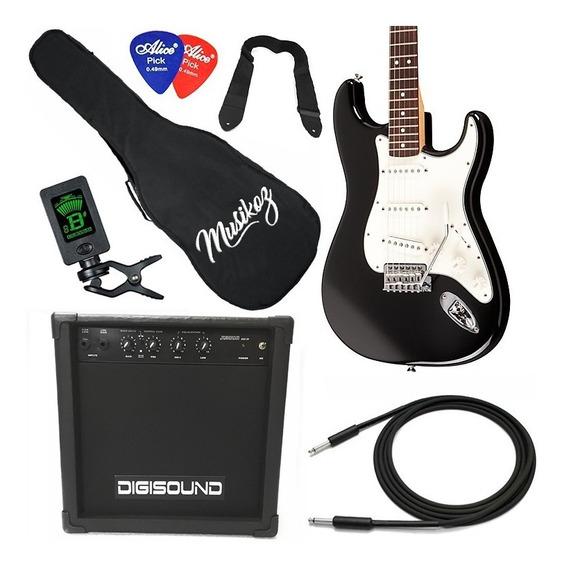 Guitarra Eléctrica Combo Amplificador 15w Afinador Y Mas!