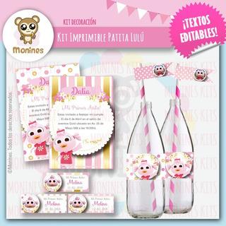 Kits Imprimible Cumpleaños Patita Lulú Dorado Y Rosa
