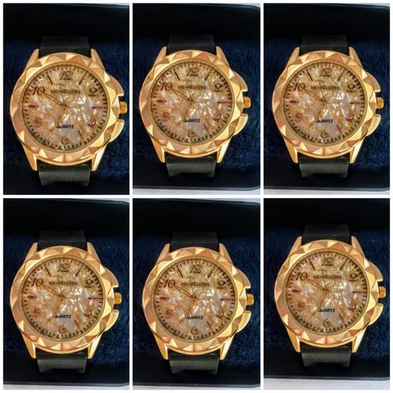 Kit C/10 Relógios Femininos Dourados Atacado Revenda C/cxas