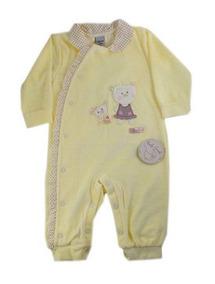 Macacão Para Bebê Longo Em Plush Amarelo Para Meninas.