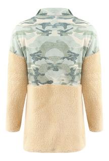 Longo Gola Olímpica Suéter Camuflagem Impressão Velomulheres