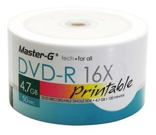 Pack 50 Unidades Dvd-r Virgen Master-g Imprimibles 16x