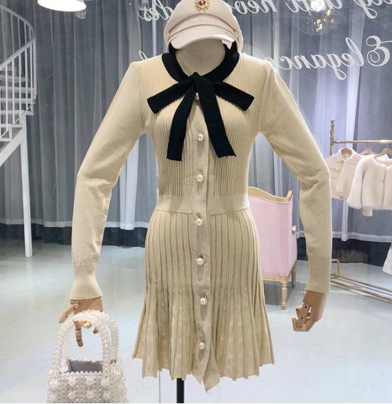Vestido Feminino Inverno Plissado Social