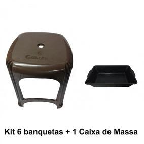 Kit 6 Banqueta Plástica Marrom + 1 Caixa P/ Massa Plást. 20l
