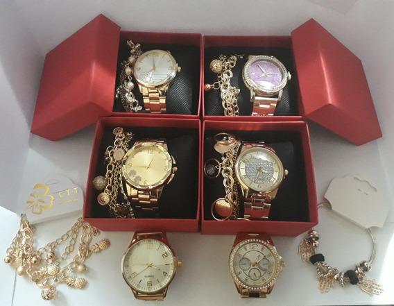 Kit C/10 Relógios Feminino Dourado +caixas+pulseiras Atacado