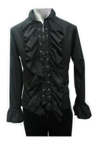 Eretica Ropa Dark-camisa Escarola Agujeta-rock-gotico