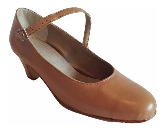 Zapatos Folklore, Español, Danza En Cuero Camel
