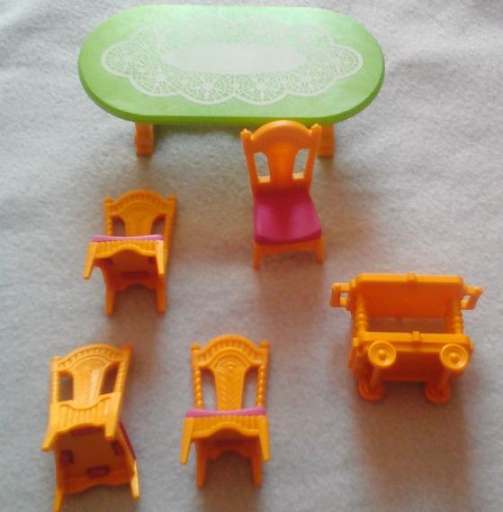 Playmobil Juego De Mesa Y Sillas Mas Carrito De Servicio