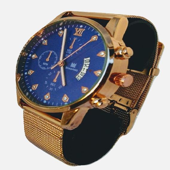Relógio Masculino De Pulso Dourado Aço+caixa+ Frete Grátis