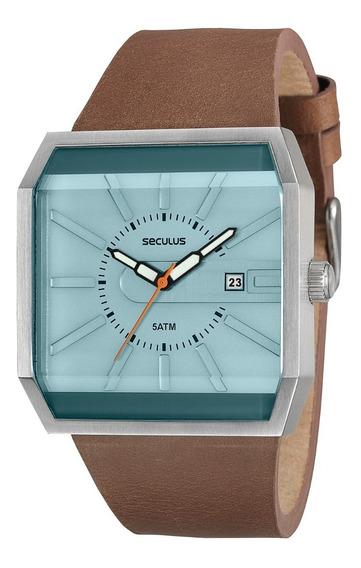Lindo Relógio Seculus Luxo Quadrado Verde Àgua