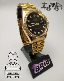 Relógio Masculino Cravejado Rolex Date Just 2019 Dourado Top