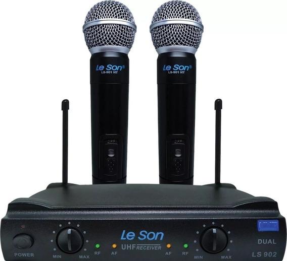 Microfone Sem Fio Duplo Uhf Leson Ls902 Ht