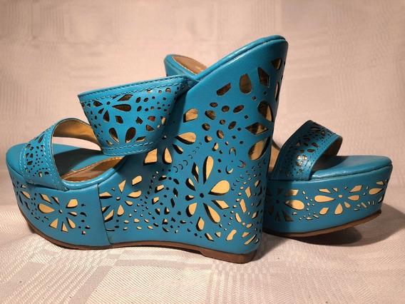 Zapatos De Plataforma Eco Cuero Celeste Dorado