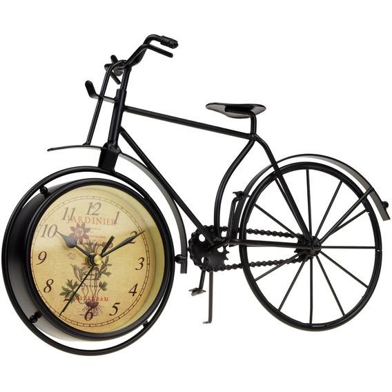 Relogio De Mesa Diâmetro 12cm Bicicleta Antiga Decrotiva