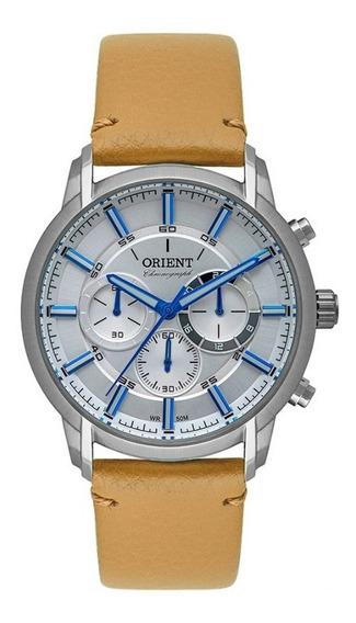 Relógio Masculino Prata Orient Cronógrafo Pulseira De Couro
