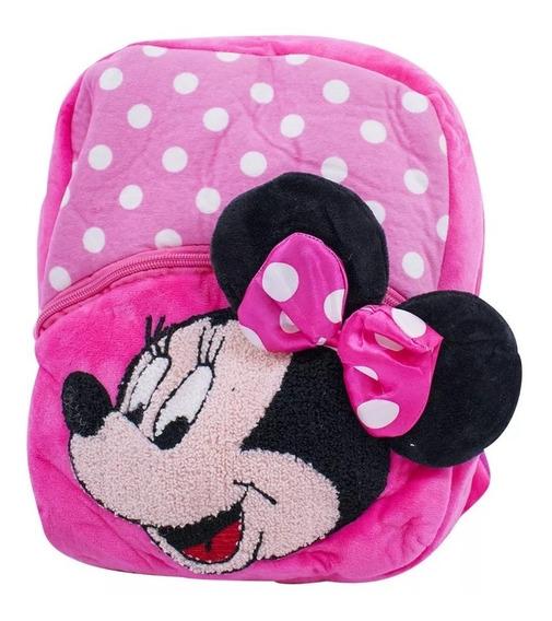 Mochila Infantil Rosa Minnie Pelúcia Disney