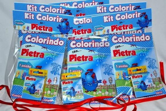 20 Kits Livrinhos Para Colorir Giz De Cera E Lapela