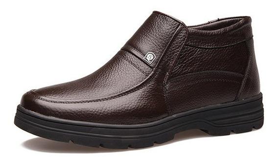 Homens De Couro Manter Quente Plana Deslizamento Em Sapatos