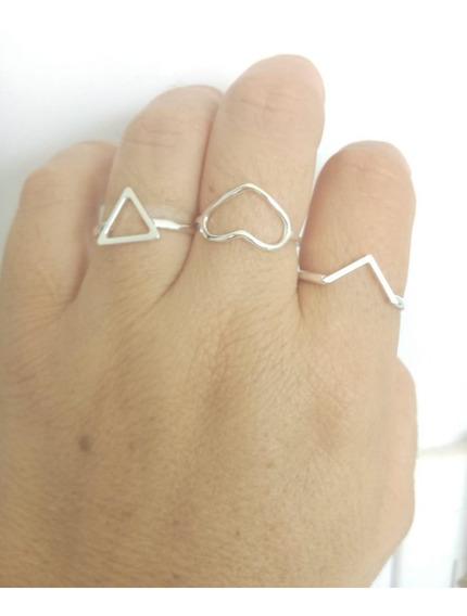 Kit 3 Anel Triangulo, Formato V, Anel Coração Geométrico Em